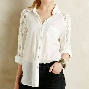 {Holding Horses} Lace Sleeve Button Down Shirt